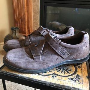 Brown suede ECCO shoes.